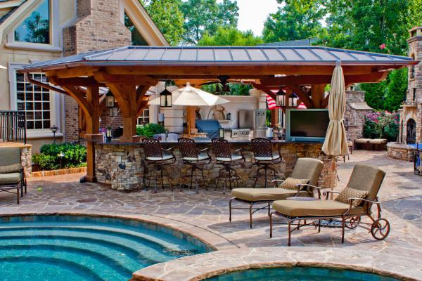 Outdoor Kitchen Designs With Pool Entrancing Update Your Outdoor Living Space  Pool Builders Inspiration