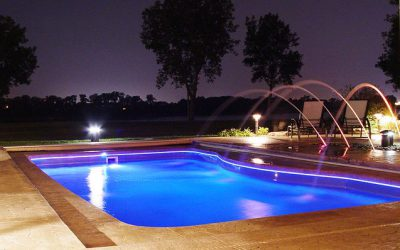 Add fire features to your swimming pool area